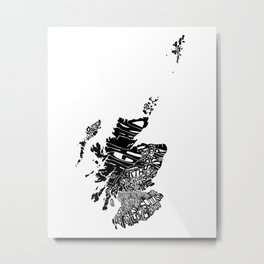 Typographic Scotland European map art Metal Print