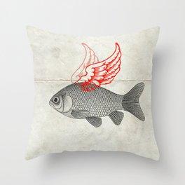 Flying Goldfish Throw Pillow
