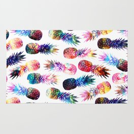 watercolor and nebula pineapples illustration pattern Rug