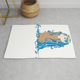 Zodiac - Aquarius Daydreaming Girl Art Rug