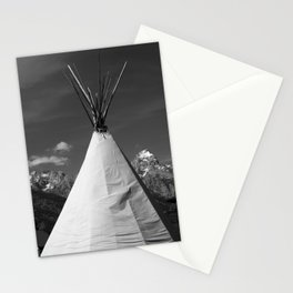 Tipi against snow capped Mountains Stationery Cards