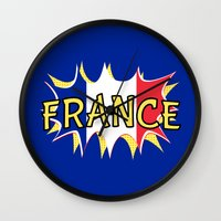 france Wall Clocks featuring France by mailboxdisco