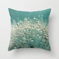 sparkles Throw Pillows featuring Cyan Sparkles by Sharon Johnstone