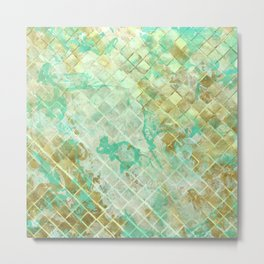 Turquoise & Gold marble mosaic Metal Print