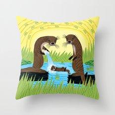 An Otter's Paradise Throw Pillow