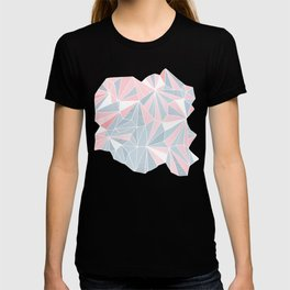 Cool blue/grey and pink geometric prism pattern T-shirt
