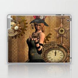 steampunk, wonderful steampunk lady with clocks and gears Laptop & iPad Skin