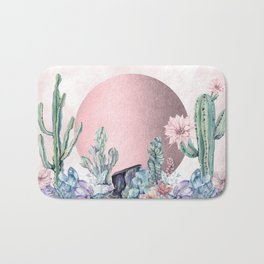 Desert Sun + Gemstones Rose Gold Pink Watercolor Bath Mat