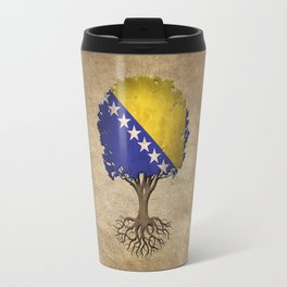 Vintage Tree of Life with Flag of Bosnia - Herzegovina Travel Mug