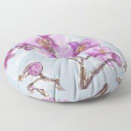 Watercolor Orchids Floor Pillow