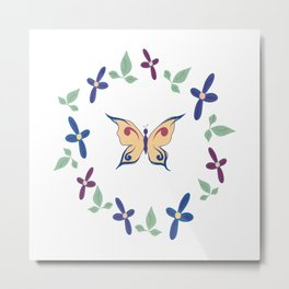 Floral Butterfly Metal Print