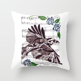 Quoth the Raven   (Raven and blue roses on sheet music) Throw Pillow