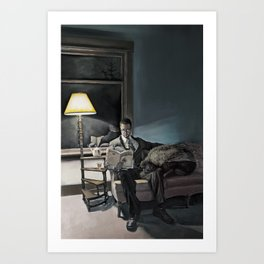 Man Reading at Home with his Bee Art Print