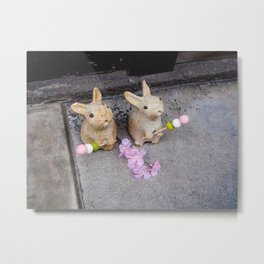 Kawaii Japanese Bunnies With Cherry Blossoms Metal Print
