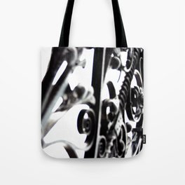 Black and White Abstract Patterned Metal Gate Design Tote Bag