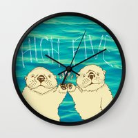 otters Wall Clocks featuring High Five / Sea Otters by Alissa Thiele