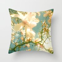 magnolia Throw Pillows featuring Magnolia by Cassia Beck