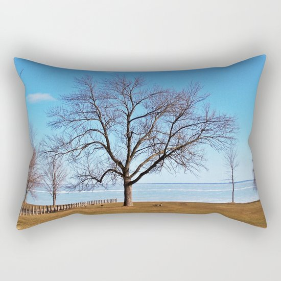 The Tree by the Frozen Lake Rectangular Pillow