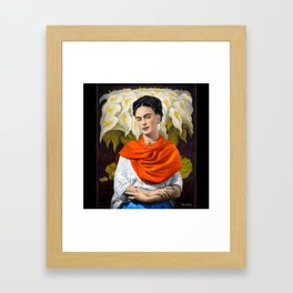 FERIDA KAHLO REBOZO NARANJA Framed Art Print