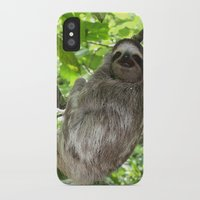 sloths iPhone & iPod Cases featuring Sloths in Nature by Amber Galore Design