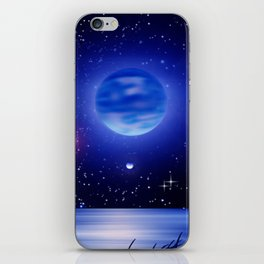 Blue moon over the ocean. iPhone Skin