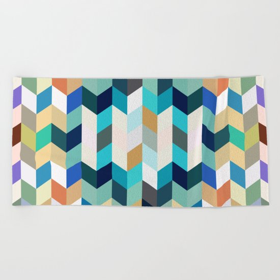 Colorful Geometric Background Beach Towel