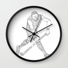 Field Hockey Player Doodle Wall Clock