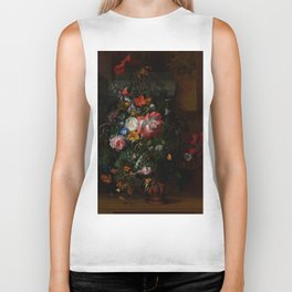 """Rachel Ruysch """"Roses, Convolvulus, Poppies, and Other Flowers in an Urn on a Stone Ledge"""" Biker Tank"""