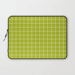 Acid Green - Green Color - White Lines Grid Pattern Laptop Sleeve