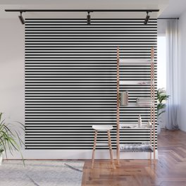 Even Horizontal Stripes, Black and White, XS Wall Mural