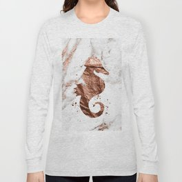 Rose gold seahorse marble Long Sleeve T-shirt