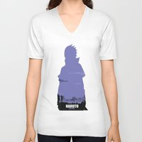 sasuke V-neck T-shirts featuring NARUTO SHIPPUDEN - Sasuke by ReachArt