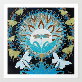 Journey of the Luna Moth Art Nouveau Mandala by Jeanne Fry Art Print