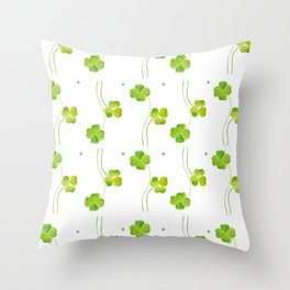 green clover leaf pattern watercolor Throw Pillow
