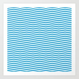 Oktoberfest Bavarian Blue and White Chevron Stripes Art Print
