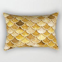 Gold Trendy Glitter Mermaid Scales Rectangular Pillow