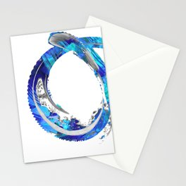 White And Blue Abstract Art - Swirling 4 - Sharon Cummings Stationery Cards