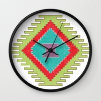kilim Wall Clocks featuring Persian Kilim - Plain Background - Distressed by Katayoon Photography