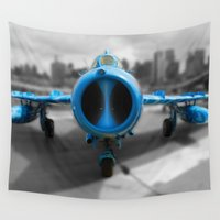 airplane Wall Tapestries featuring Blue airplane by Claude Gariepy