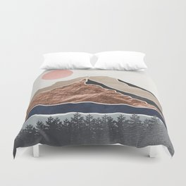 Mount Hood // Daylight Art Print Oregon Stratovolcano Rose Gold Silver Blue Cream Black Mountain Duvet Cover