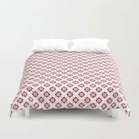 flower pattern Duvet Covers featuring Flower Pattern by Kings in Plaid