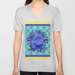 Yellow Turquois Purple Blue Floral Pattern Unisex V-Neck