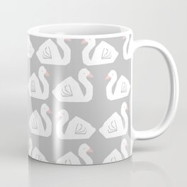 Swan minimal pattern print grey and white bird illustration swans nursery decor Coffee Mug