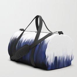 Modern blue cobalt black oil paint brushstrokes abstract Duffle Bag