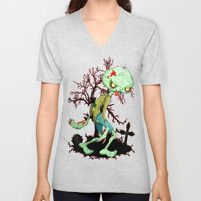 Zombie Creepy Monster Cartoon on Cemetery Unisex V-Neck