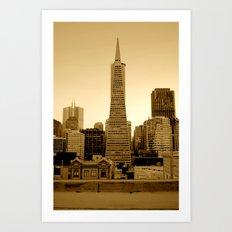 Sepia Transamerica Pyramid San Francisco Skyline Art Print