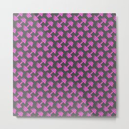 Dumbbellicious PINK GREY Metal Print