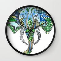 tatoo Wall Clocks featuring Tatoo Elephant by PepperDsArt