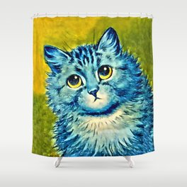 BLUE CAT - Louis Wain Art Shower Curtain