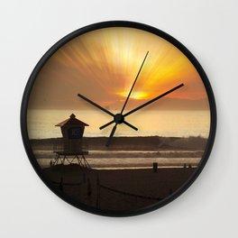 Evening Glass Off Huntington Beach Wall Clock